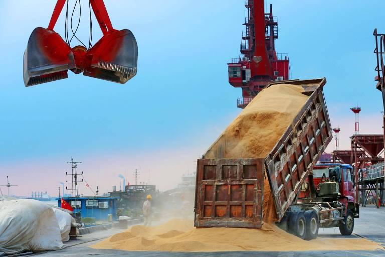 Descarregamento de soja brasileira em porto na China