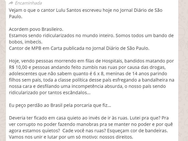 Corrente do Lulu Santos é falsa