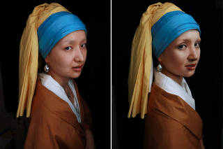 Combination picture shows makeup artist He Yuhong posing without her makeup and garments, and without her makeup following her transformation into the