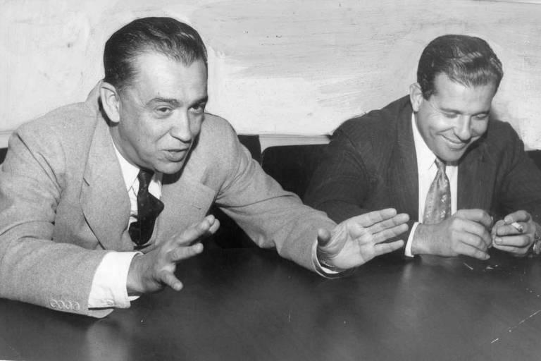 Juscelino Kubitschek, candidato à Presidência, e o candidato a vice João Goulart 1955