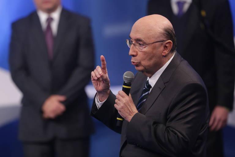 O candidato Henrique Meirelles (MDB) durante debate entre presidenciáveis na RedeTV!