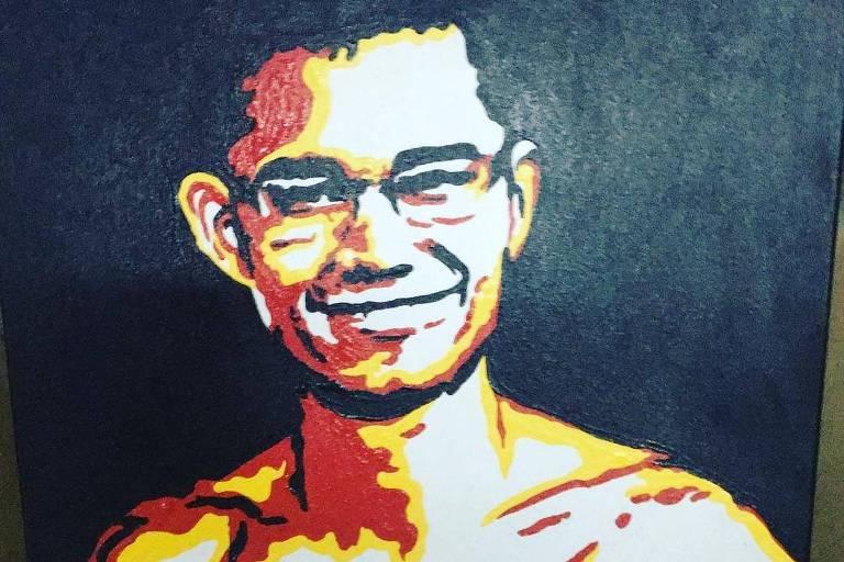 Lulu Santos posta quadro que retrata o namorado, Clebson Teixeira