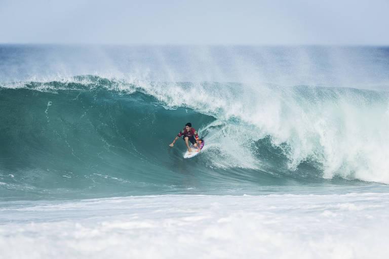 Após ficar em terceiro em Bells Beach, na Austrália, Medina parou nas quartas de final na etapa do Rio de Janeiro, em Saquarema