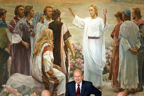 FILE - In this Jan. 16, 2018, file photo, president Russell M. Nelson looks on following a news conference, in Salt Lake City. The president of the Mormon church is asking people to refrain from using