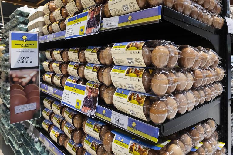 caixas de ovos caipira da marca Sabor e Qualidade do Carrefour