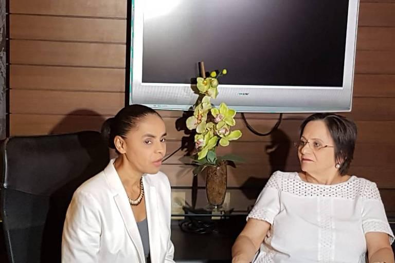 A candidata Marina Silva (Rede) se encontrou em Fortaleza nesta segunda (21) com Maria da Penha Fernandes, que deu nome à lei que trata da criminalização dos casos de violência doméstica