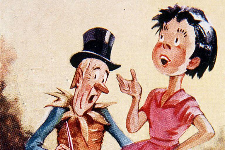 Os personagens Emília e Visconde de Sabugosa, de Monteiro Lobato em ilustração de J. U. Campos