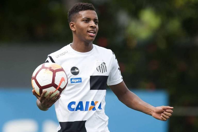 O atacante Rodrygo é uma das forças ofensivas do Santos para conquistar a vaga na próxima fase da Copa do Brasil