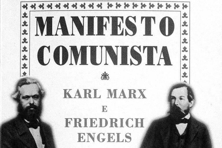 """Capa do livro """"Manifesto Comunista"""", de Karl Marx e Friedrich Engels"""