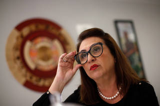 Brazil's Senator Katia Abreu, runner-up candidate on Ciro Gomes for Brazil's presidential election, gestures during an interview to Reuters in Brasilia