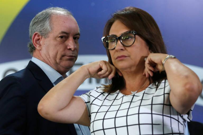 O candidato do PDT à Presidência, Ciro Gomes, e sua vice, a senadora Kátia Abreu