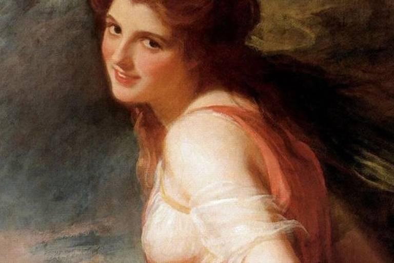 George Romney produziu várias telas de sua musa, Lady Hamilton: nesse, de 1785, ela é mostrada como uma seguidora de Baco, o deu do vinho e da intoxicação