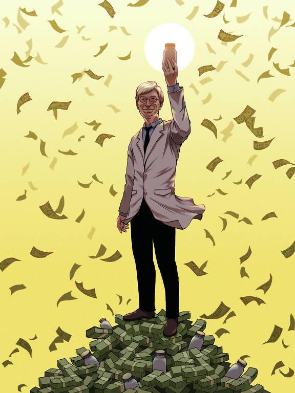 Médico ergue um frasco ao sol e, em volta, há uma chuva de dinheiro