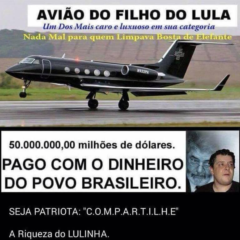 Viral falso atribuindo aeronave de registro americano a Lulinha, filho de Lula
