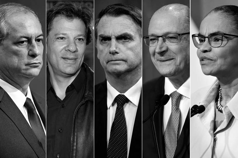 Da esq. para a dir., Ciro Gomes (PDT), Fernando Haddad (PT), Jair Bolsonaro (PSL), Geraldo Alckmin (PSDB) e Marina Silva (Rede)