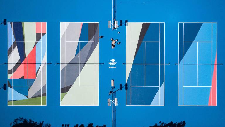 Quadras de Los Angeles com motivos geométricos desenhadas pelo artista Charlie Edmiston