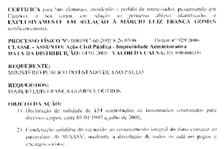 Trecho da certidão para fins eleitorais do candidato Márcio França