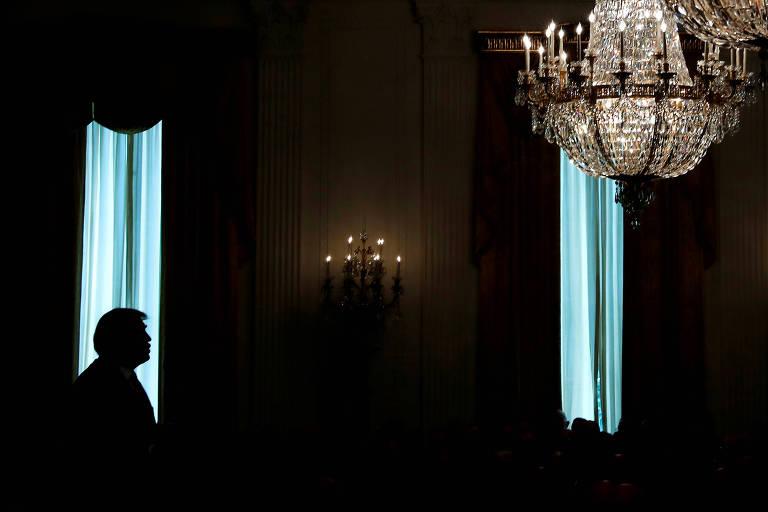 O presidente Donald Trump durante cerimônia na Casa Branca, em Washington, nesta quarta-feira (22)