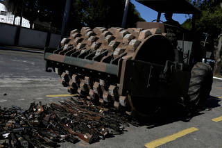 Guns seized from criminals by the armed forces are destroyed in Rio de Janeiro