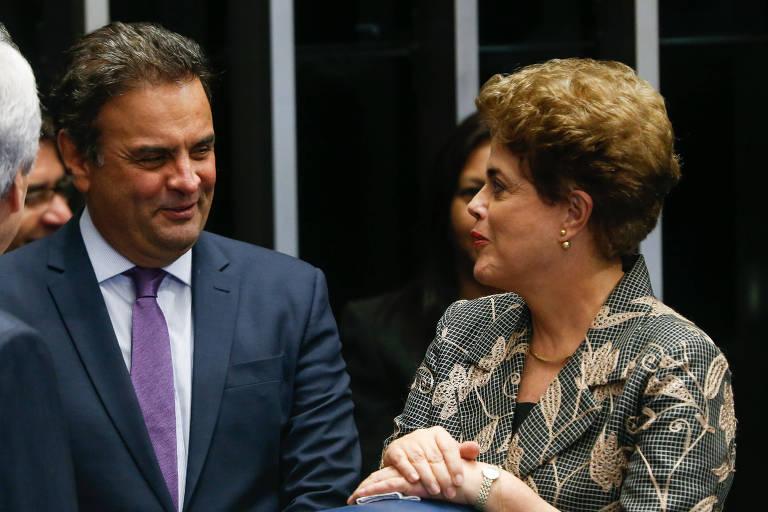 Dilma Rousseff e Aécio Neves em campanha