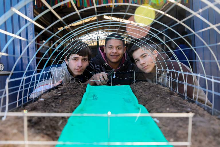 Os alunos ao fundo do protótipo que é formado por uma base de terra com um tapete para a circulação do robô, protegida por uma tela
