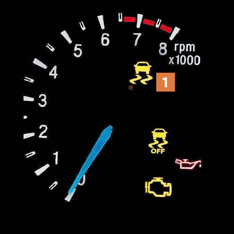 Símbolo com carro e curvas, em amarelo