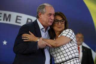 O presidenciável Ciro Gomes e sua vice Kátia Abreu