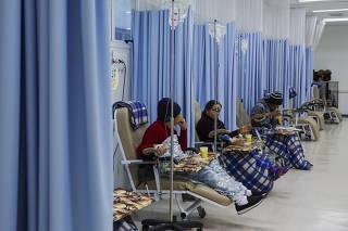 Sessão de quimioterapia no hospital de Heliópolis