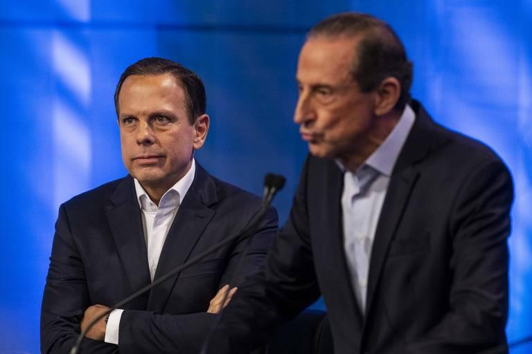 João Doria (PSDB) e Paulo Skaf (MDB) durante o debate dos candidatos a governador de São Paulo