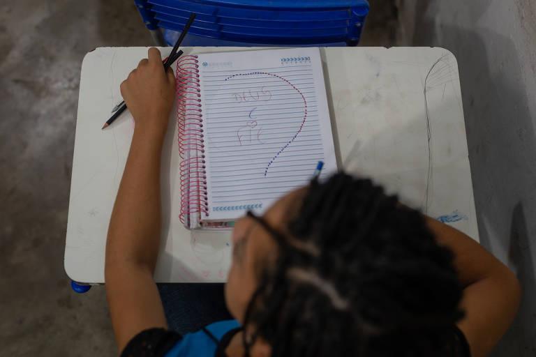 Caderno de uma aluna