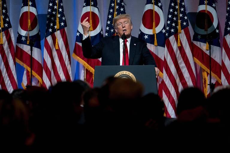 Donald Trump fala a simpatizantes em evento no estado de Ohio