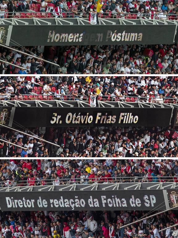 Placar do Morumbi homenageia Otavio Frias Filho antes do início da partida entre São Paulo e Ceará. O diretor de Redação da Folha morreu na última terça (21), vítima de um câncer originado no pâncreas