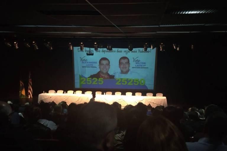 Auditório do clube Banespa durante evento de Milton Leite