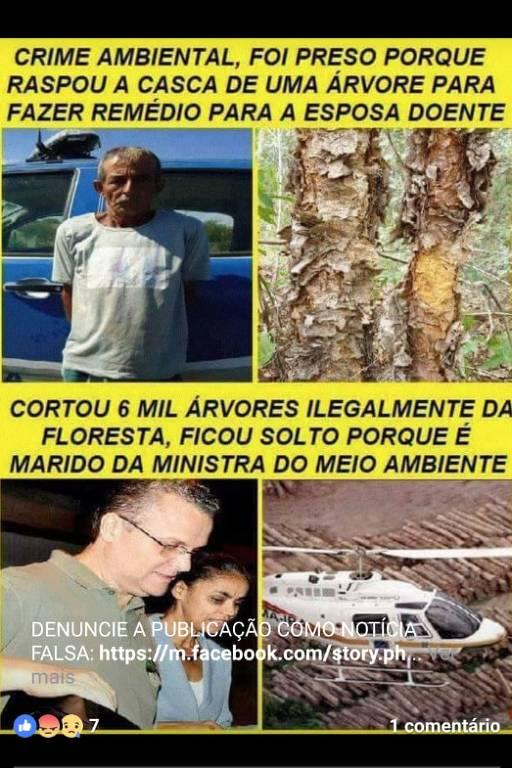 Comprova: Não é verdade que marido de Marina Silva extraiu madeira ilegalmente em 2003