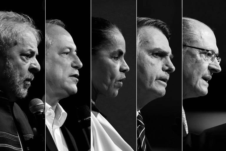 Da esq. para a dir., Lula (PT), Ciro Gomes (PDT), Marina Silva (Rede), Jair Bolsonaro (PSL) e Geraldo Alckmin (PSDB)