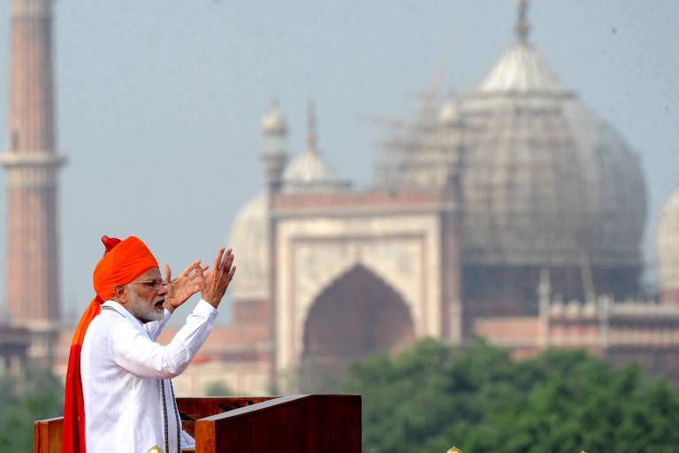 O premiê indiano, Narendra Modi, discursa em celebração do Dia da Independência em 15 de agosto, em Nova Déli