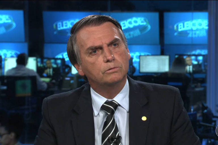O candidato à Presidência Jair Bolsonaro (PSL) em entrevista ao Jornal Nacional