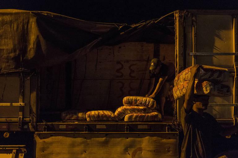Trabalhador descarrega carreta de açúcar em comércio de Pacaraima, Roraima