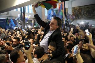 Presidential candidate Jair Bolsonaro arrives at the Salgado Filho airport to attend a rally in Porto Alegre