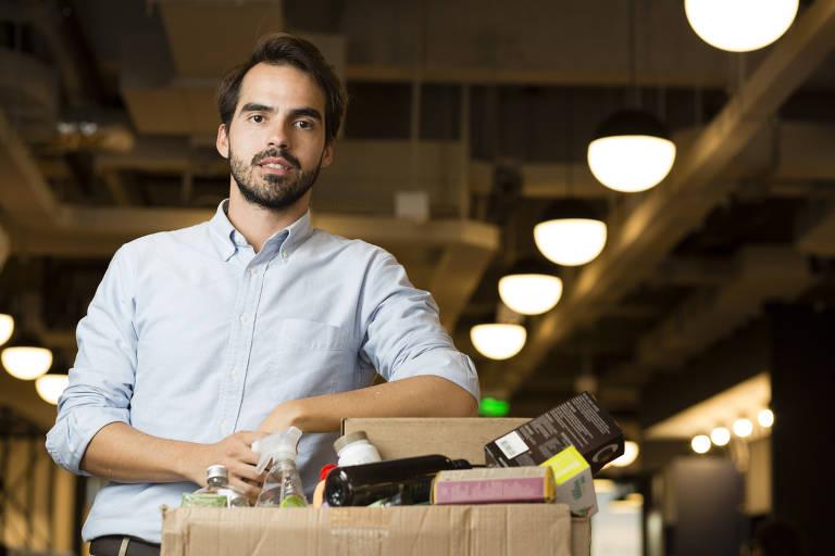 Thiago Pinto, 33, fundador da startup New Hope Ecotech, na empresa, na região central de São Paulo