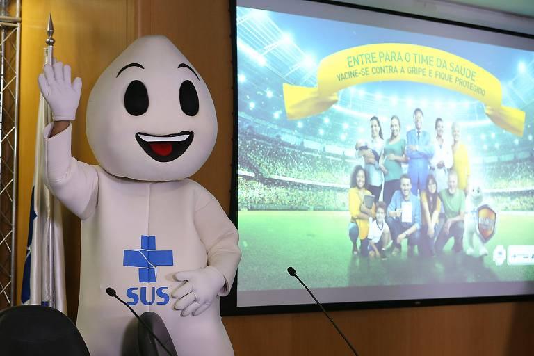 O personagem Zé Gotinha em lançamento da 20ª Campanha Nacional de Vacinação contra a Gripe