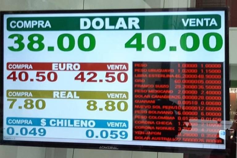 Casa de câmbio na argentina já mostra mínima recorde da moeda no país frente ao dólar