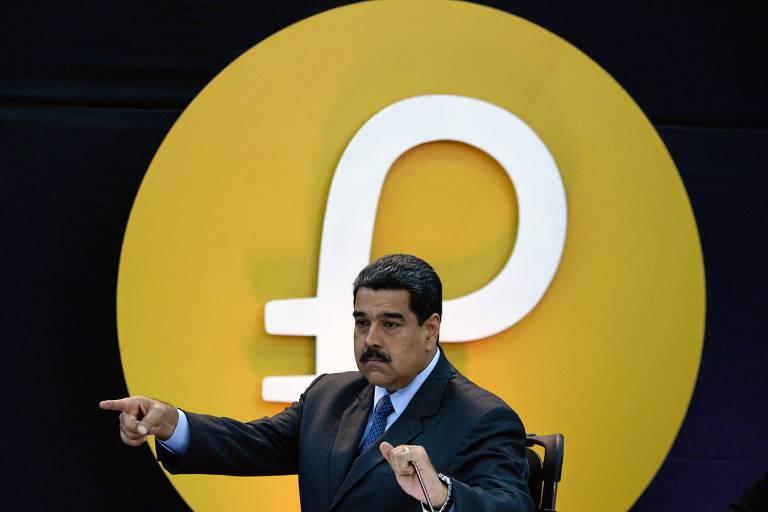 Nicolás Maduro no lançamento da criptomoeda petro, em fevereiro de 2018