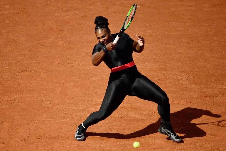 "Serena Williams usando o traje ""Pantera Negra"""