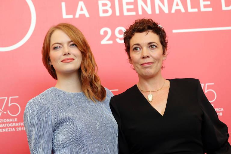 Emma Stone e Olivia Colman no Festival de Veneza