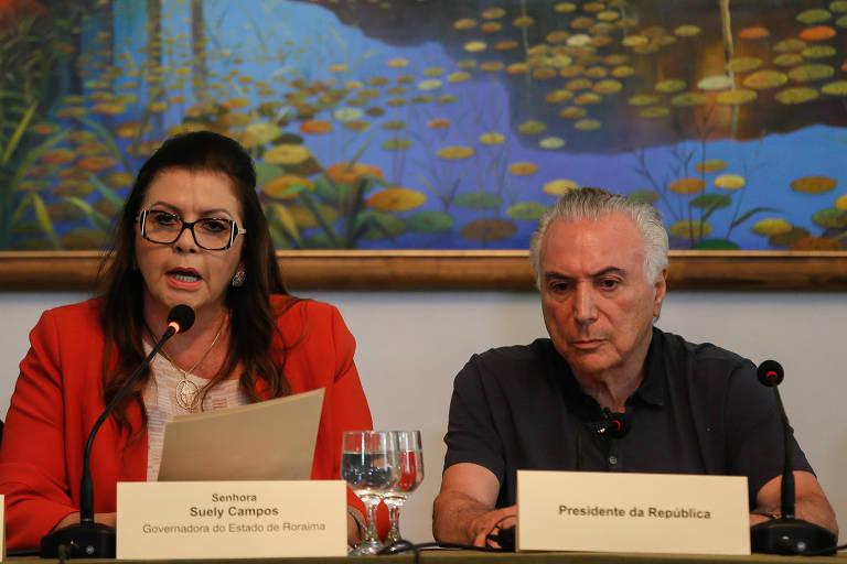 Michel Temer em encontro com Suely Campos, em Roraima