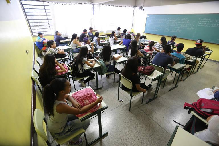 Sala de aula na Escola Estadual Antonio Vieira de Souza, em Guarulhos (SP)