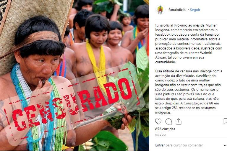 Foto de índias com seio à mostra e tarja dizendo censura