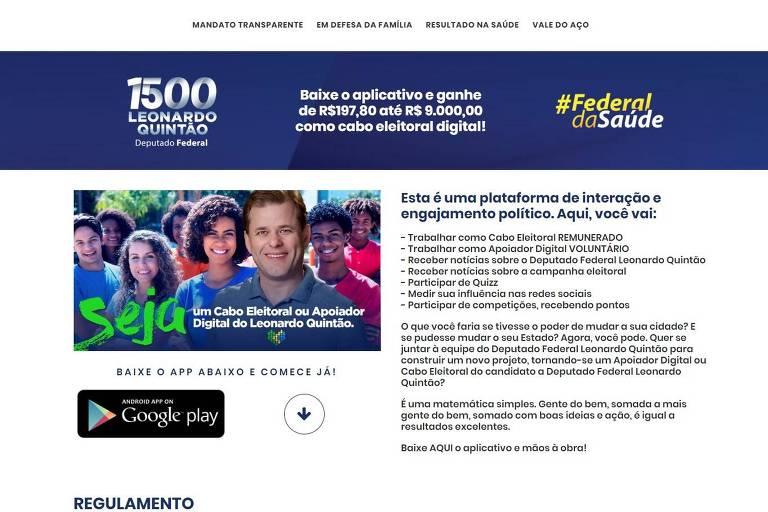 Página de Leonardo Quintão recruta apoiadores remunerados
