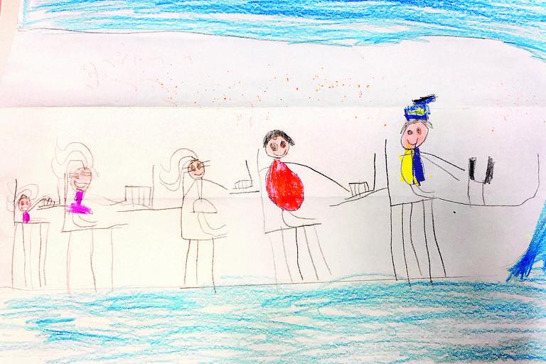 Laura Gardim, seis anos, desenhou a família no avião